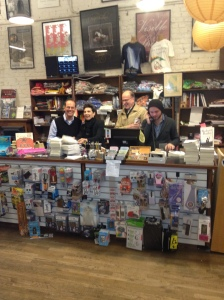 With Lyn Roberts and Richard Howorth at the checkout desk.  Yes, we sold a few copies too!