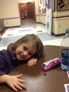 While Daddy gave his talk, Allie had to re-charge with her favorite snack!