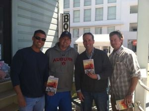 At Sundog Books with longtime friends, James Drake, Terry Edmondson and Walker Cagle.