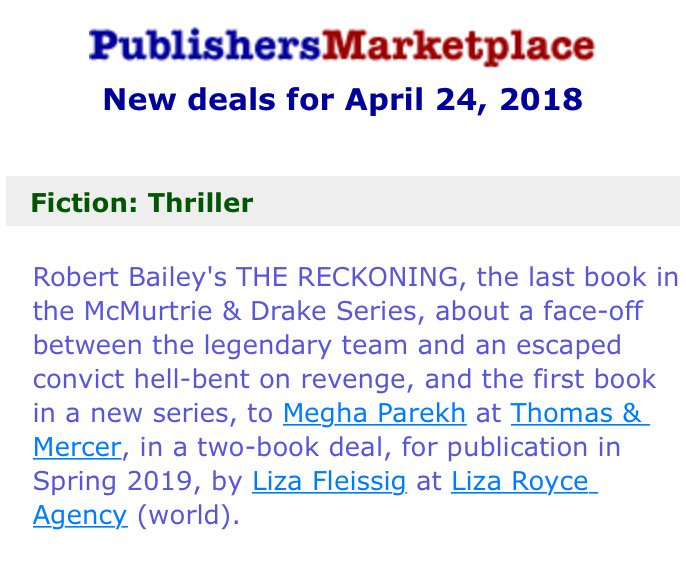 New Deals (2 book deal with The Reckoning)