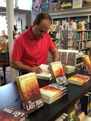 Signing a book